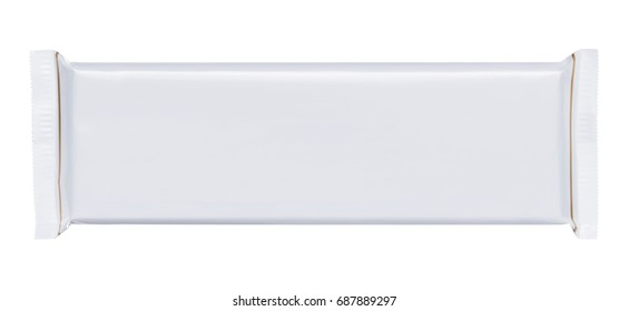 Long white blank plastic foil pouch food bag snack packaging isolated on white background flat top view