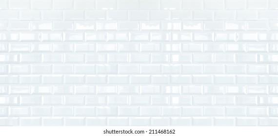 Long White ceramic brick tile wall,background