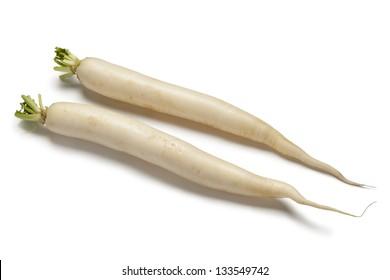 Long white Radish on white backgrpound