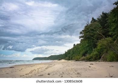 Long and wide beach by the Baltic Sea near Miedzyzdroje