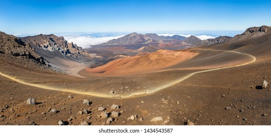 The long winding path down into the Haleakala Crater on Haleakala Volcano in Maui, Hawaii, USA.