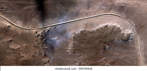 the long and winding road,abstract photography of the deserts of Africa from the air, bird's eye view, abstract expressionism, contemporary art, optical illusions,
