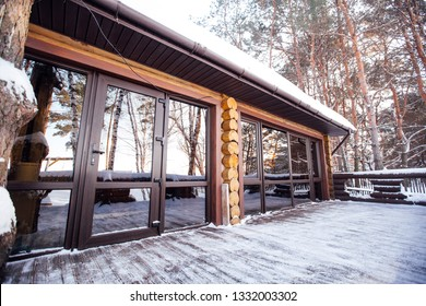 long windows in the wood house