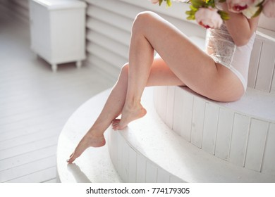 Long woman legs after depilation. laser hair removal.