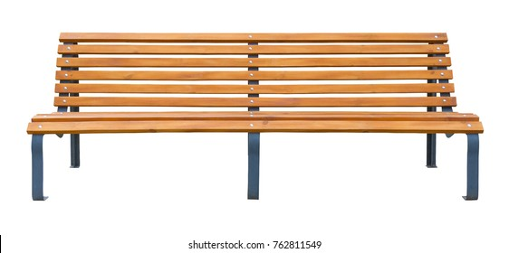 Long wooden bench isolated on a white background