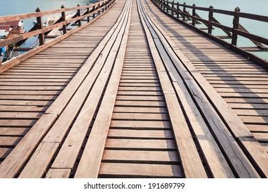 Long wooden bridge at Sangkhlaburi kanchanaburi Province Asia Thailand