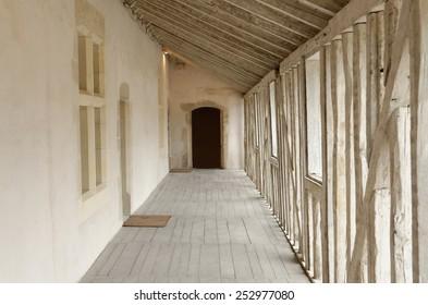 long wooden corridor