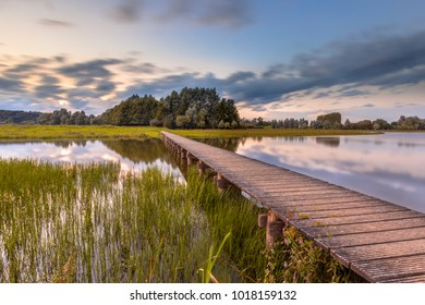 Long wooden footbridge as Future concept in nature reserve de Blauwe Kamer near Wageningen, Betuwe, Netherlands
