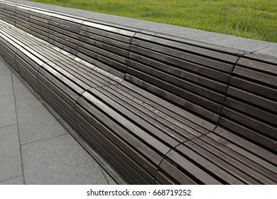 long wooden park bench