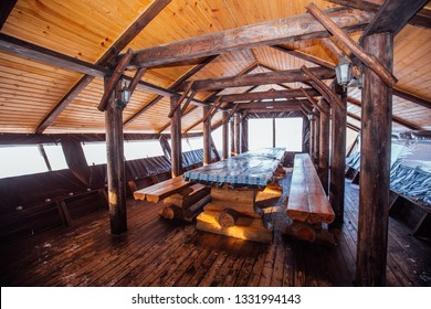 long wooden table in nature