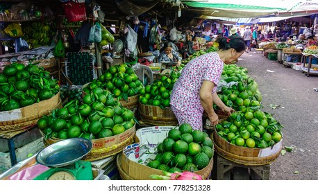 Long Xuyen, Vietnam - Sep 1, 2017. A woman at local market in Long Xuyen, Vietnam. Long Xuyen is the provincial city and capital city of An Giang Province.
