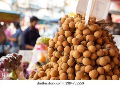 Longan, Dimocarpus longan, fruit from Asia. Longan sell at market.