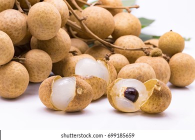 Longan (Dimocarpus longan) on white background with clipping path