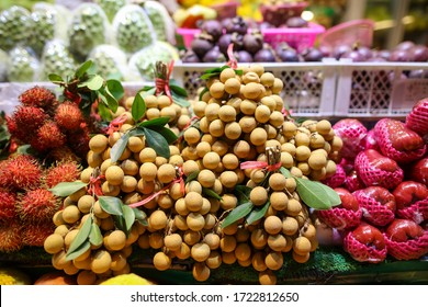 Longan fruit on the window in the market. Food in the tropics