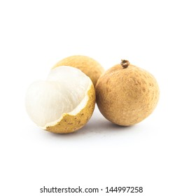 longan isolated on a white background - exotic fruit