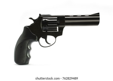 long-barreled revolver with a black plastic handle isolated