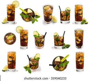 Longdrinks (Cuba Libre) isolated on white background as high resolution collage