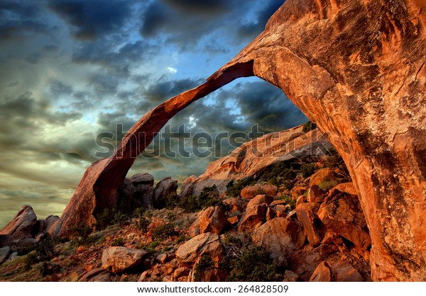 The longest arch in the world.  The Landscape Arch in Arches National Park, Utah.