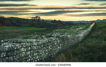 Longest continuous stretch remaining of Hadrian's Wall at sunset in winter