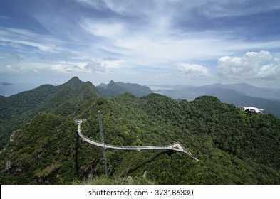 The Longest Free Span and Curved Bridge in the world, the Langkawi Sky Bridge located at the top of Mount Mat Cincang, Langkawi Island, Kedah, Malaysia.
