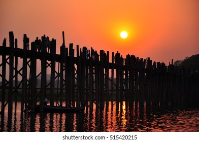 Longest wooden bridge and beautiful sunset in Myanmar