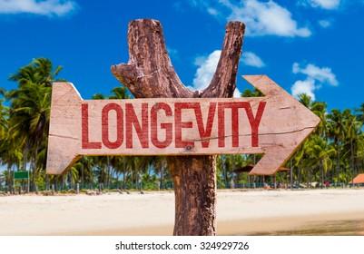 Longevity arrow with beach background