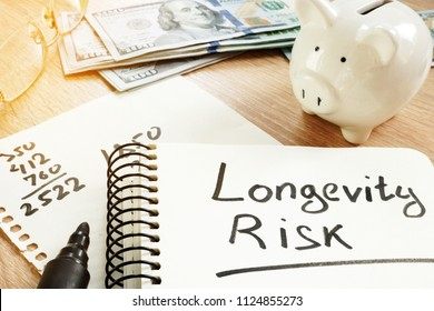 Longevity risk handwritten on a note. Pension concept.