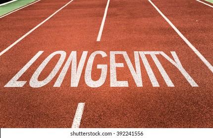 Longevity written on running track