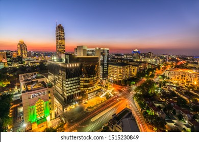Longexposure aerel shot Sandton city johannesburg at night at night