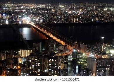 Long-exposure night photograph of Osaka, Japan