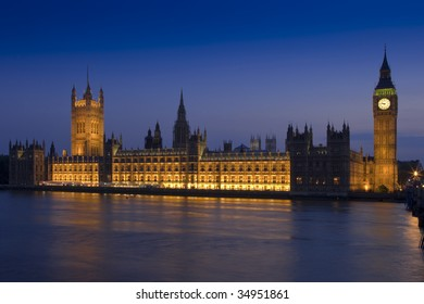 Long-exposure night shot of the Palace of Westminster more popularly known as the Houses of Parliament