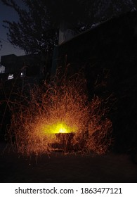Longexposure shot of a burning charcoal