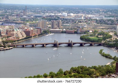 The Longfellow Bridge crossing over the Charles River, connecting Boston and Cambridge.
