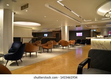 Longford, England – May 25, 2019: Qantas Business Class Lounge at London Heathrow Airport Terminal 3, Longford, United Kingdom, Europe