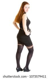 long-haired teenager girl wearing black dress