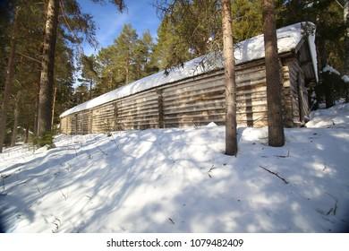 Longhouse at hembygsgard (homestead) in Glommerstraesk in Sweden.
