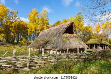 Longhouse on a meadow with autumn colors