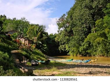 longhouse  in sarawak