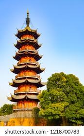 Longhua Pagoda in the Longhua Buddist Temple, Shanghai, China