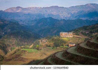 Longji rice terraces and a Yao village at Guangxi, China.
