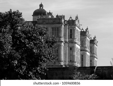 Longleat, England - September 08 2007:   Black and White image of the Stately Home