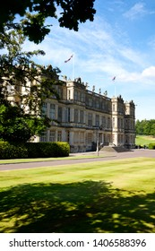 Longleat House, Wiltshire / UK - July 17 2014: The front entrance of Longleat House, near Warminster in Wiltshire, England