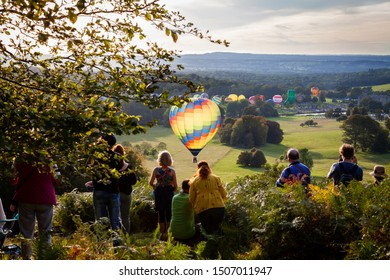 Longleat, Warminster,  Uk, 09/15/2019 Longleat Sky safari, with the balloons rising for the sunset launch
