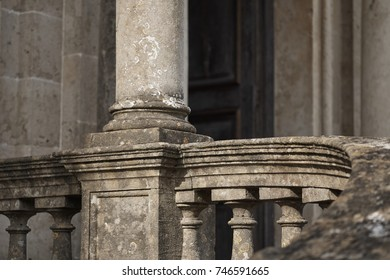 LONGLEAT, WILTSHIRE, UK - AUGUST 2017: Detail of an outdoor staircase of the old English stately home at Longleat in Wiltshire.