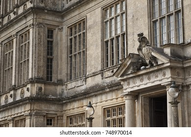 LONGLEAT, WILTSHIRE, UK - AUGUST 2017: Detail of the facade with windows of an old English stately home in Wiltshire.