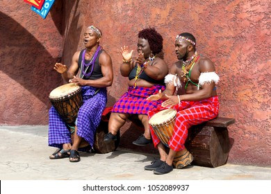 Longleat, Wiltshire, UK - August 23, 2012: African Musicians playing bongo drums and singing