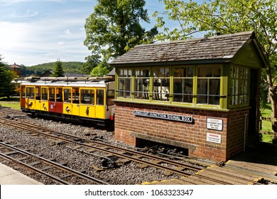 Longleat, Wiltshire, UK - July 17, 2014: A Junction signal box on a minature railway