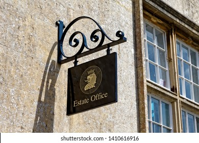 Longleat, Wiltshire / UK - July 17 2014: Estate Office Sign at Longleat, Wiltshire, United Kingdom.