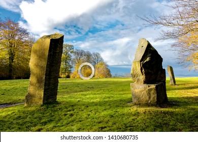Longleat, Wiltshire / UK - November 4 2014: Stone sculptures at Heavens Gate, Longleat, Wiltshire, United Kingdom.