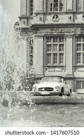 Longleat, Wiltshire / UK - October 25 2015: An old classic Mercedes-Benz car at Longleat House, Wiltshire, United Kingdom in Sepia tint